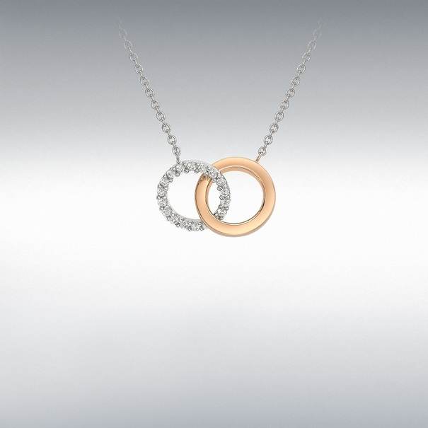 9ct Rose & White Gold Two Tone Cubic Zirconia Linked Rings Pendant Necklace
