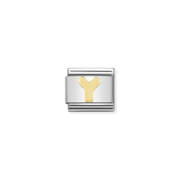 COMPOSABLE Classic ALPHABET Letter Y Link in Stainless Steel with Bonded Yellow Gold 030101/25