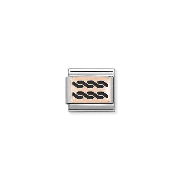 NOMINATION COMPOSABLE Classic Black Plaits Plate Link in Stainless Steel with Enamel & Bonded Rose Gold 430201/02