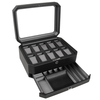 WOLF Windsor Black 10 Piece Watch Storage Box with Drawer 4586029 Thumbnail