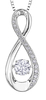 9ct Canadian White Gold Pulse Diamond Set Figure of Eight Pendant Necklace P3173W/30C-10 Thumbnail