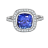 E W Adams 18ct White Gold Tanzanite & Diamond Set Cluster Ring Thumbnail