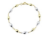 9ct Yellow & White Gold Polished Ovoid Bead Bracelet Thumbnail