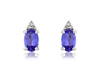 9ct White Gold Tanzanite & Diamond Set Stud Earrings Thumbnail
