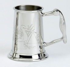Child's Pewter Christening Stork & Clock Mug/Cup/Can