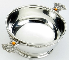 "Traditional Pewter Celtic Design Quaich - Resin Set Handles (5"" bowl)"