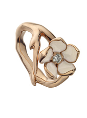 Shaun Leane Rose Gold Vermeil & Ivory Enamel Diamond Set Single Cherry Blossom Ring (size M) SLS208RG