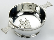 "Traditional Pewter Celtic Design Quaich with Thistle (4"" bowl)"