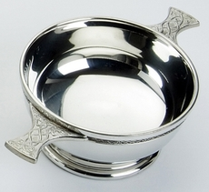 "Traditional Pewter Celtic Design Quaich (5"" bowl)"