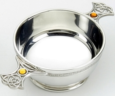 "Traditional Pewter Celtic Design Quaich - Resin Set Handles (4"" bowl)"