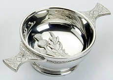 "Traditional Pewter Celtic Design Quaich with Thistle (3"" bowl)"