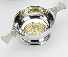 "Traditional Pewter Celtic Design Quaich with Brass Iona Cross insert (2"" bowl)"