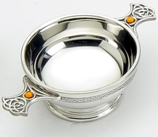 "Traditional Pewter Celtic Design Quaich - Resin Set Handles (3"" bowl)"