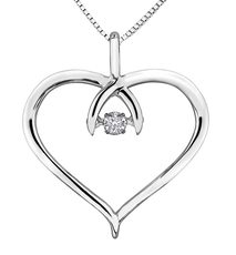 9ct Canadian White Gold Pulse Diamond Set Heart Pendant Necklace P3072W/08C-9
