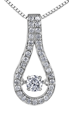 9ct Canadian White Gold Pulse Diamond Set Teardrop Pendant Necklace P3071W/30C-10