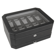WOLF Windsor Black 10 Piece Watch Storage Box with Drawer 4586029
