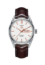 TAG Heuer Carrera Calibre 5 Silver Dial Automatic Day-Date Stainless Steel on Leather Mens Watch WAR201D.FC6291