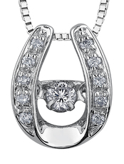 9ct Canadian White Gold Pulse Diamond Set Horseshoe Pendant Necklace P3122W/16C-9