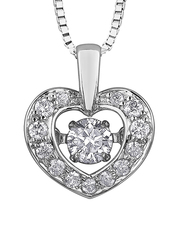 9ct Canadian White Gold Pulse Diamond Set Heart Pendant Necklace P3114W/25C-10