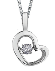 9ct Canadian White Gold Pulse Diamond Set Heart Pendant Necklace P3113W/05C-10