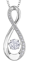 9ct Canadian White Gold Pulse Diamond Set Figure of Eight Pendant Necklace P3173W/30C-10