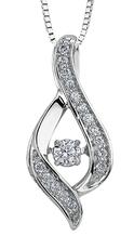 9ct Canadian White Gold Pulse Diamond Set Ribbon Style Pendant Necklace P3070W/25C-10