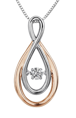 9ct Canadian White Gold & Rose Gold Pulse Diamond Set Figure of Eight Pendant Necklace P3126R/10C-9
