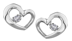 9ct Canadian White Gold Pulse Diamond Set Heart Earrings E3113W/10-10