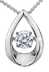 9ct Canadian White Gold Pulse Diamond Set Teardrop Pendant Necklace P3107W/05C-9