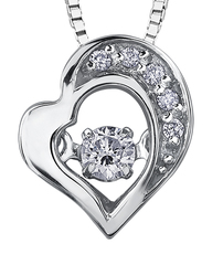 9ct Canadian White Gold Pulse Diamond Set Heart Pendant Necklace P3154W/07C-10