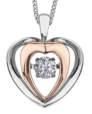 9ct Canadian White Gold & Rose Gold Pulse Diamond Set Heart Pendant Necklace P3117WR/15C-9