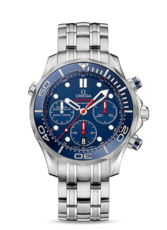 Omega Seamaster Diver 300M Co-Axial Chronograph Blue Dial Stainless Steel Mens Watch 21230445003001