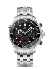 Omega Seamaster Diver 300M Co-Axial Chronograph Black Dial Stainless Steel Mens Watch 21230445001001