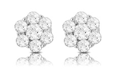 9ct White Gold 0.20ct Diamond Set Flower Shape Cluster Stud Earrings ER240R20