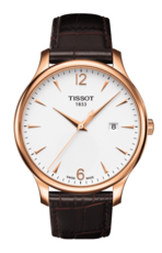 Tissot Tradition Silver Dial PVD Rose Gold Plated Mens Quartz Watch T0636103603700