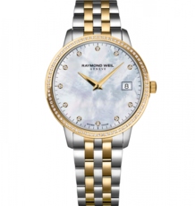 Raymond Weil Toccata Mother of Pearl Dial Diamond Set Two Tone Womens Quartz Watch 34mm 5388-SPS-97081