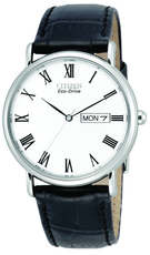 Citizen Eco-Drive White Dial Stainless Steel Day-Date Mens Watch BM8240-11A