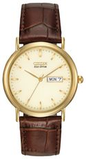 Citizen Eco-Drive Champagne Cream Dial Gold Plated Day-Date Mens Watch BM8242-08P