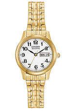 Citizen Eco-Drive White Dial Gold Plated Expanding Bracelet Womens Watch EW3152-95A