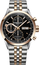 Raymond Weil Freelancer Black Dial Two Tone Chronograph Mens Watch 7730-SP5-20111