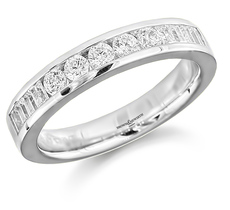 Brown & Newirth Platinum 0.50ct Brilliant & Baguette Cut Diamond Channel Set Half Eternity Ring HET793