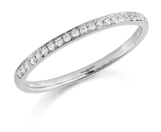 Brown & Newirth 18ct White Gold 0.10ct Brilliant Cut Diamond Claw Set 1.5mm Half Eternity Ring HET924