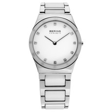 Bering Ceramic Collection White Dial Stainless Steel Womens Quartz Watch 32230-764