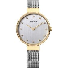 Bering Classic Collection Silver Dial Two Tone Womens Large Quartz Watch 12034-010