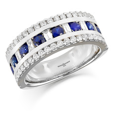 Brown & Newirth 18ct White Gold Three Row Baguette & Brilliant Cut Diamond, Sapphire Set Ring HET953BS
