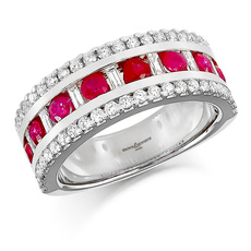 Brown & Newirth 18ct White Gold Three Row Baguette & Brilliant Cut Diamond, Ruby Set Ring HET953RU