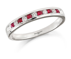 Brown & Newirth 18ct White Gold 0.25ct Brilliant Cut Diamond & Ruby Channel Set Half Eternity Ring HET946RU