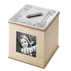 Carrs Sterling Silver & Maple Wooden Cube Photo Money Box MBOX3/MAP-SS