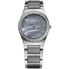 Bering Ceramic Collection Grey Mother of Pearl Dial Stainless Steel Swarovski Set Womens Quartz Watch 32426-789