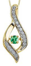 9ct Canadian Gold Pulse Emerald & Diamond Set Ribbon style Pendant Necklace P3070YW/25C-10 EM